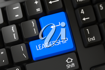 Leadership Concept: PC Keyboard with Leadership on Blue Enter Keypad Background, Selected Focus. Black Keyboard with the words Leadership on Blue Keypad. 3D Render.