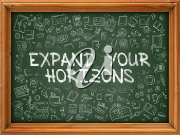 Expand Your Horizons - Hand Drawn on Green Chalkboard with Doodle Icons Around. Modern Illustration with Doodle Design Style.