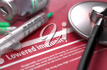 Lowered Immunity - Medical Concept on Red Background with Blurred Text and Composition of Pills, Syringe and Stethoscope. 3D Render.