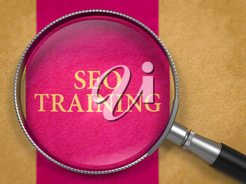 SEO Training through Loupe on Old Paper with Lilac Vertical Line Background. 3D Render.