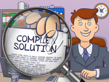 Complex Solution through Lens. Officeman Holding a Concept on Paper. Closeup View. Multicolor Modern Line Illustration in Doodle Style.
