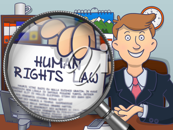 Officeman Showing Concept on Paper - Human Rights Law. Closeup View through Lens. Colored Modern Line Illustration in Doodle Style.