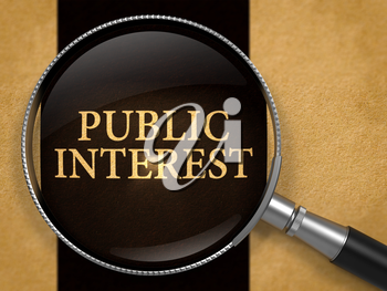 Public Interest Concept through Magnifier on Old Paper with Black Vertical Line Background. 3D Render.