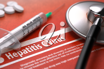 Hepatitis C Virus - Medical Concept with Blurred Text, Stethoscope, Pills and Syringe on Orange Background. Selective Focus. 3D Render.