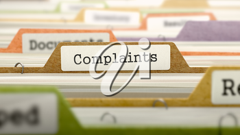 Complaints Concept on File Label in Multicolor Card Index. Closeup View. Selective Focus. 3D Render.