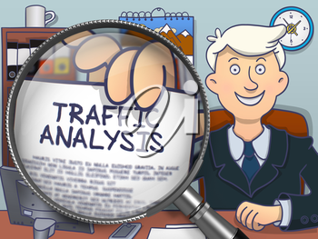 Traffic Analysis on Paper in Man's Hand through Magnifying Glass to Illustrate a Business Concept. Colored Doodle Illustration.