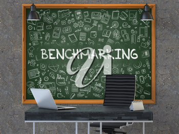 Green Chalkboard on the Dark Old Concrete Wall in the Interior of a Modern Office with Hand Drawn Benchmarking. Business Concept with Doodle Style Elements. 3D.