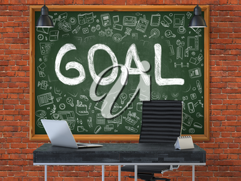 Goal - Handwritten Inscription by Chalk on Green Chalkboard with Doodle Icons Around. Business Concept in the Interior of a Modern Office on the Red Brick Wall Background. 3D.