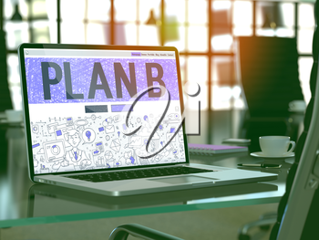 Plan B Concept Closeup on Landing Page of Laptop Screen in Modern Office Workplace. Toned Image with Selective Focus. 3D Render.