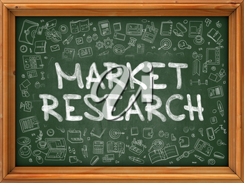 Market Research - Hand Drawn on Chalkboard. Market Research with Doodle Icons Around.
