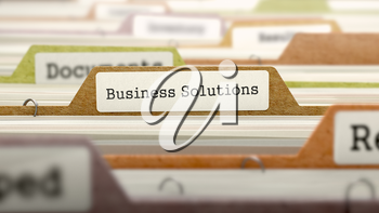 Business Solutions on Business Folder in Multicolor Card Index. Closeup View. Blurred Image. 3D Render.