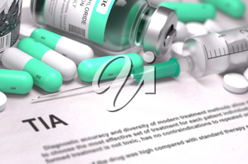 TIA - Transient Ischemic Attack - Printed Diagnosis with Mint Green Pills, Injections and Syringe. Medical Concept with Selective Focus. 3D Render.