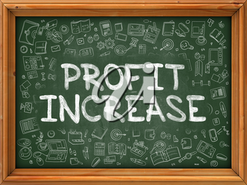 Profit Increase - Hand Drawn on Green Chalkboard with Doodle Icons Around. Modern Illustration with Doodle Design Style.