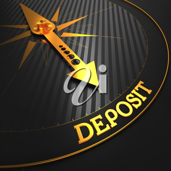 Deposit - Business Background. Golden Compass Needle on a Black Field Pointing to the Word Deposit. 3D Render.