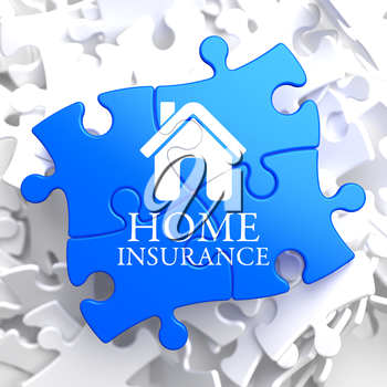 Home Insurance Inscription with Home Icon on Blue Puzzle. Business Concept.