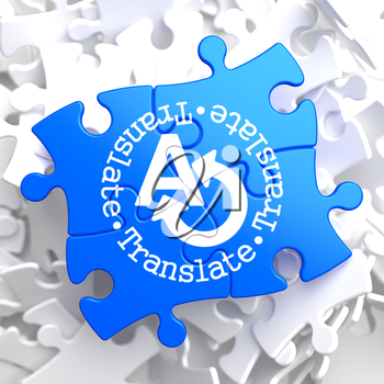 Translate on Blue Puzzle. Communication Concept.