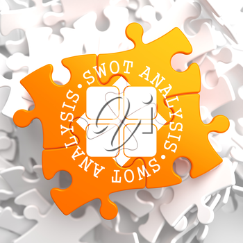 SWOT Analisis Written Arround Icon on Orange Puzzle. Business Concept.