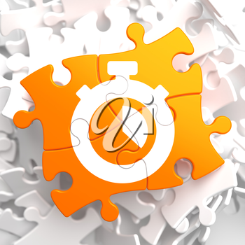 Stopwatch Icon on Orange Puzzle. Time Concept.