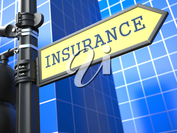 Insurance Word on Yellow Roadsign on Blue Urban Background. Business Concept.