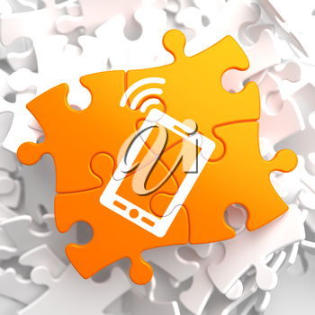 Smartphone Icon on Orange Puzzle. Mobile Technology Concept.