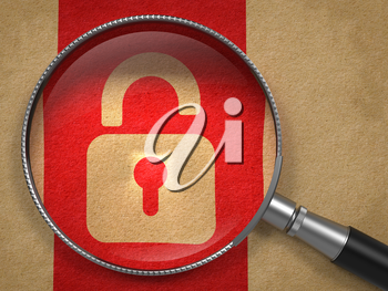 Magnifying Glass with Icon of Opened Padlock on Old Paper with Red Vertical Line Background. Security Concept.