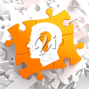 Psychological Concept - Profile of Head with a Keyhole Located on Orange Puzzle.