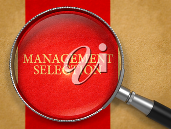 Management Selection Concept through Magnifier on Old Paper with Red Vertical Line Background. 3D Render.