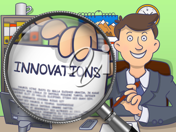 Man in Suit Looking at Camera and Showing a Concept on Paper Innovations Concept through Magnifier. Closeup View. Multicolor Doodle Style Illustration.