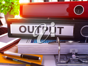 Output - Black Office Folder on Background of Working Table with Stationery and Laptop. Output Business Concept on Blurred Background. Output Toned Image. 3D.