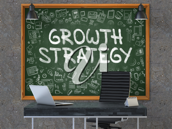 Growth Strategy Concept Handwritten on Green Chalkboard with Doodle Icons. Office Interior with Modern Workplace. Dark Old Concrete Wall Background. 3D.