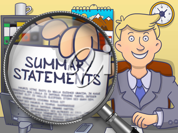 Businessman in Office Workplace Holds Out a Paper with Text Summary Statements. Closeup View through Magnifier. Colored Modern Line Illustration in Doodle Style.