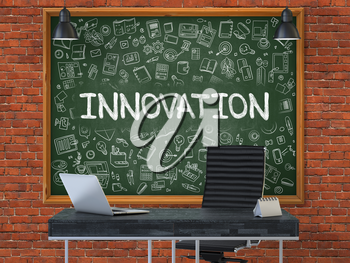 Innovation Concept Handwritten on Green Chalkboard with Doodle Icons. Office Interior with Modern Workplace. Red Brick Wall Background. 3D.