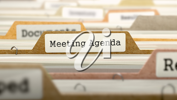 Meeting Agenda Concept. Colored Document Folders Sorted for Catalog. Closeup View. Selective Focus. 3D Render.