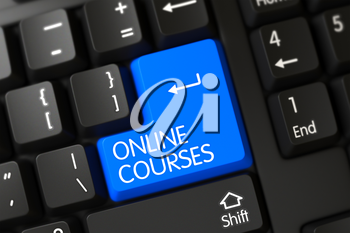 Online Courses on Modernized Keyboard Background. A Keyboard with Blue Key - Online Courses. Online Courses Written on a Large Blue Key of a Computer Keyboard. 3D.