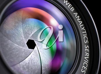 Web Analytics Services - Concept on Front of Lens with Colored Lens Reflection, Closeup. Photo Lens with Bright Colored Flares. Web Analytics Services Concept. 3D Render.