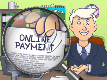 Man in Suit Holding a Paper with Online Payment Concept through Magnifier. Closeup View. Colored Doodle Style Illustration.