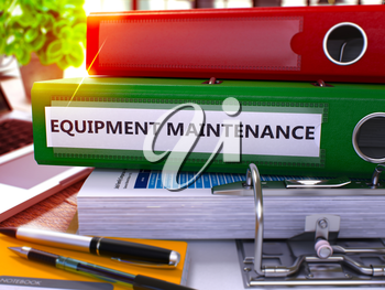 Green Ring Binder with Inscription Equipment Maintenance on Background of Working Table with Office Supplies and Laptop. Equipment Maintenance Business Concept on Blurred Background. 3D Render.