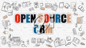 Open Source CRM Concept. Open Source CRM Drawn on White Wall. Open Source CRM in Multicolor. Doodle Design Style of Open Source CRM. White Brick Wall.