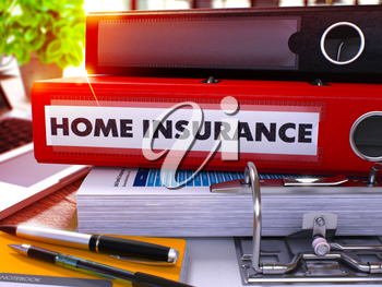 Red Office Folder with Inscription Home Insurance on Office Desktop with Office Supplies and Modern Laptop. Home Insurance Business Concept on Blurred Background. Home Insurance - Toned Image. 3D.