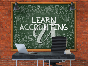 Green Chalkboard on the Red Brick Wall in the Interior of a Modern Office with Hand Drawn Learn Accounting. Business Concept with Doodle Style Elements. 3D.