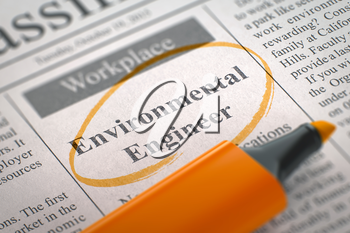 Environmental Engineer. Newspaper with the Jobs Section Vacancy, Circled with a Orange Highlighter. Blurred Image. Selective focus. Job Seeking Concept. 3D Illustration.