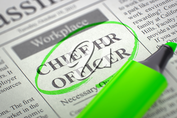 Chief HR Officer - Job Vacancy in Newspaper, Circled with a Green Marker. Blurred Image with Selective focus. Job Search Concept. 3D Illustration.