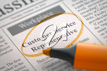 Customer Service Representative - Jobs in Newspaper, Circled with a Orange Marker. Blurred Image with Selective focus. Hiring Concept. 3D Rendering.