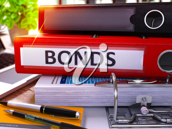 Red Office Folder with Inscription Bonds on Office Desktop with Office Supplies and Modern Laptop. Bonds Business Concept on Blurred Background. Bonds - Toned Image. 3D.