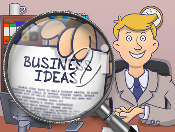 Business Ideas through Magnifying Glass. Business Man in Office Workplace Holding Paper with Inscription. Multicolor Doodle Style Illustration.