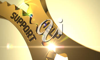 Help Support - Illustration with Glow Effect and Lens Flare. Help Support Golden Metallic Cogwheels. Help Support on the Mechanism of Golden Metallic Cog Gears with Lens Flare. 3D.