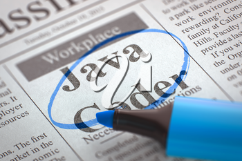Newspaper with Classified Advertisement of Hiring Java Coder. Blurred Image. Selective focus. Hiring Concept. 3D Illustration.