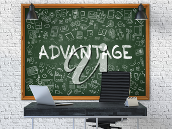 Green Chalkboard on the White Brick Wall in the Interior of a Modern Office with Hand Drawn Advantage.  Business Concept with Doodle Style Elements. 3D.