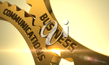 Business Communications on the Mechanism of Golden Gears with Lens Flare. Business Communications - Concept. Business Communications Golden Metallic Cogwheels. 3D Render.