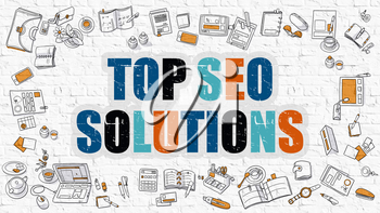 Top SEO Solutions - Multicolor Concept with Doodle Icons Around on White Brick Wall Background. Modern Illustration with Elements of Doodle Design Style.